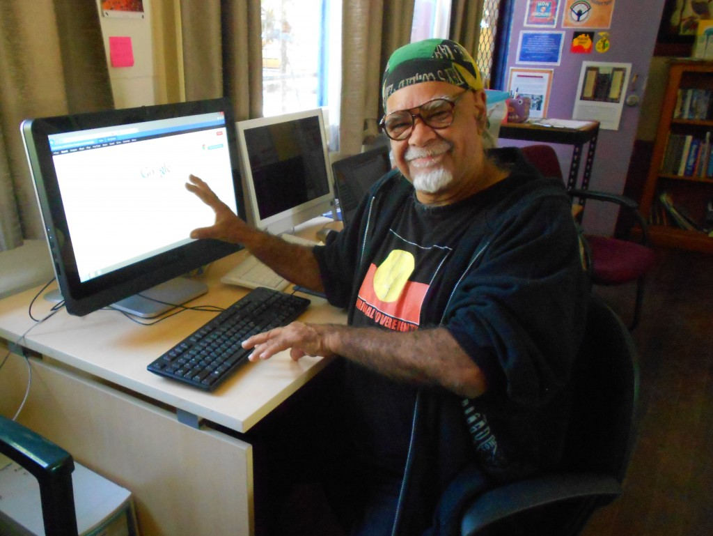 Man using computer at the Nimbin Social Centre